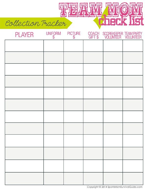 Sports team mom duty checklist from sports mom survival guide for Baseball schedule template free