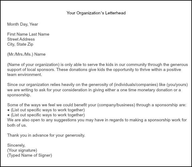 How to Get Team Sponsorships – Sample of a Sponsorship Letter