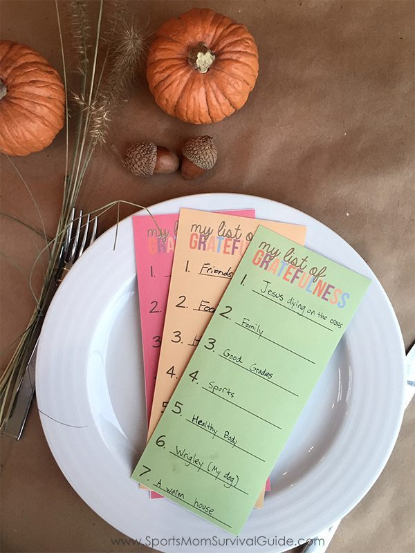 Thanksgiving Gratefulness Printable Cards