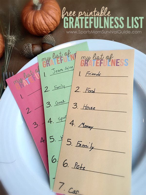 Thanksgiving Gratefulness Printable