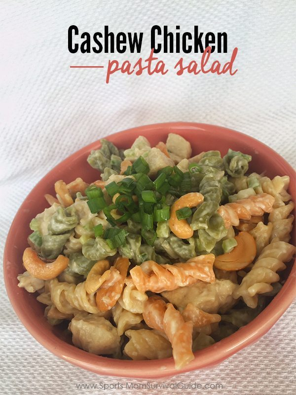 "If the name of the game is ""make-ahead"" for your summer meals, then add this sweet & tangy flavored Cashew Chicken Pasta Salad to your meal list!"