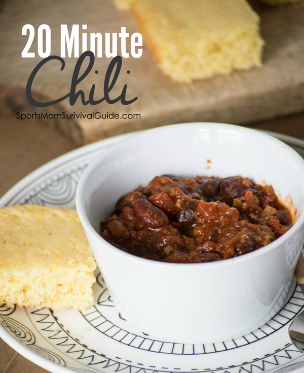 Need an easy and delicious meal? Give this 20 mInute chili recipe a try. It's great for a cold day and the leftovers are even better the next day!