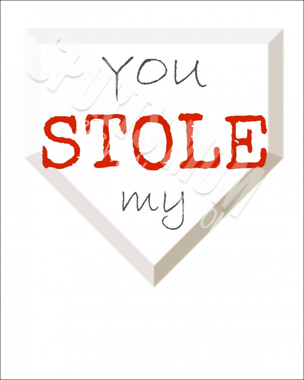 Free Printable-You Stole My Heart with Baseball Heart with Watermark