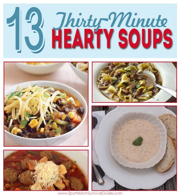 This time of year is all about comfort food! I don't know about you, but the cold weather doesn't seem to slow down the evening activities all that much!! I love the idea of a quick soup that can be ready in about 30 minutes! So here's a list of 13 hearty soups that can make your weeknights (or any night) a little simpler.