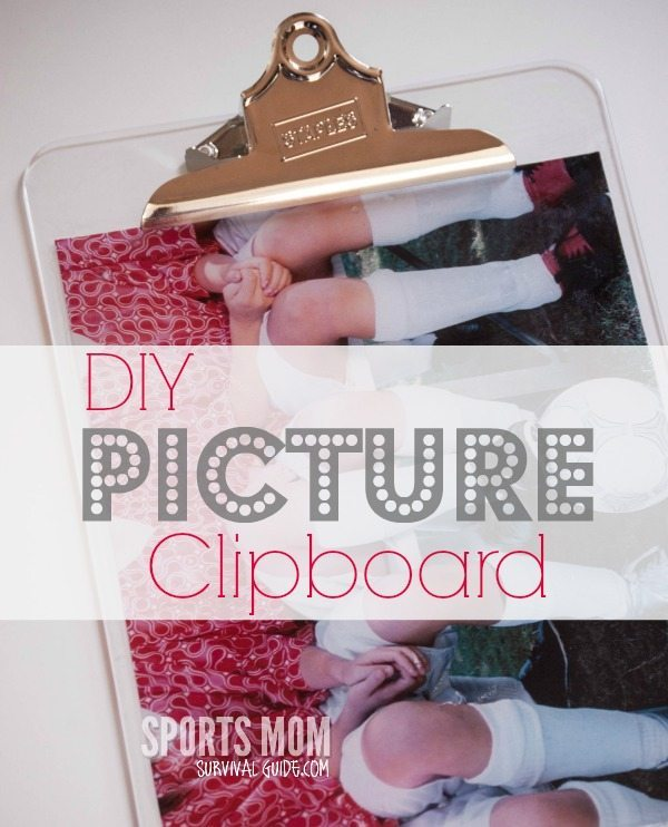 This DIY photo clipboard is perfect for a coaches gift! It only takes about 20 minutes to make and costs less than $10!