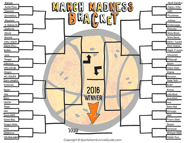 NCAA Tournament Bracket 2016, Print for Free