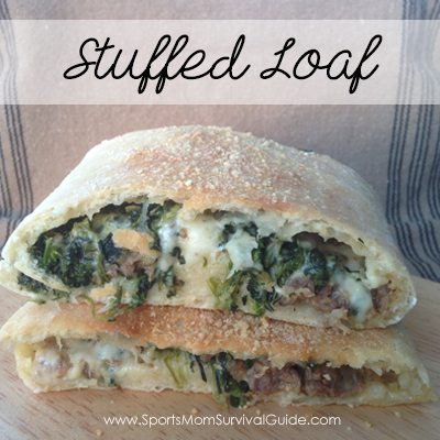 Italian Sausage Stuffed Loaf is an Awesome Easy on-the-go Meal. You can make ahead and freeze or eat right away. A hit with the whole family.