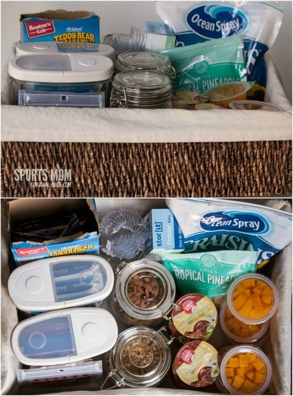 Keep snacks in one place for easy packing