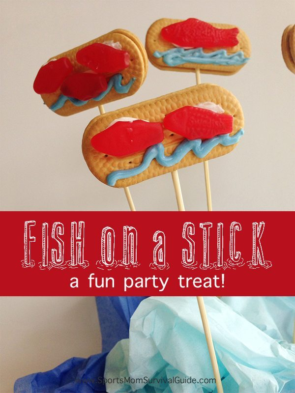 Fish on a stick a fun sports themed party food for Fish on a stick
