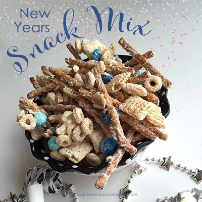 Looking for a fast and easy treat for your new years party? Grab this recipe for easy new years snack mix! You can make it in just 5 minutes!