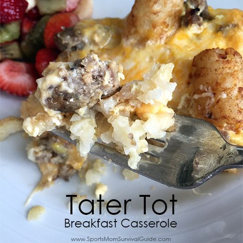 Stumped about what to make for dinner? Change it up and try this easy and filling Tater Tot Breakfast Casserole for dinner! A sure-fire hit with everyone.
