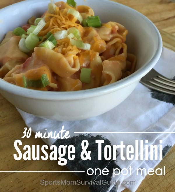 Need a quick meal for dinner?!?  Try this one pot sausage and tortellini.  It's easy to whip up and takes less than 30 minutes from start to finish.  It's perfect for those nights when you're short on time!