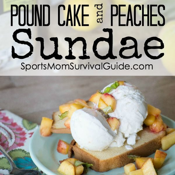 Pound Cake With Peaches On Side