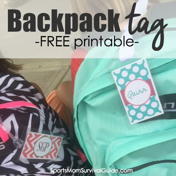 graphic regarding Printable Backpack Tags called Again-Towards-University Cost-free Backpack Tag Printables