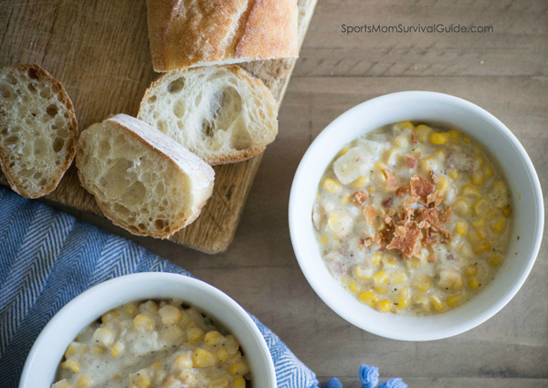 It's crockpot season!  This slow cooker corn chowder is absolutely delicious and the beauty of this recipe is just how easily it comes together.   It takes a few minutes of prep but other than that, it's a dump and go recipe.