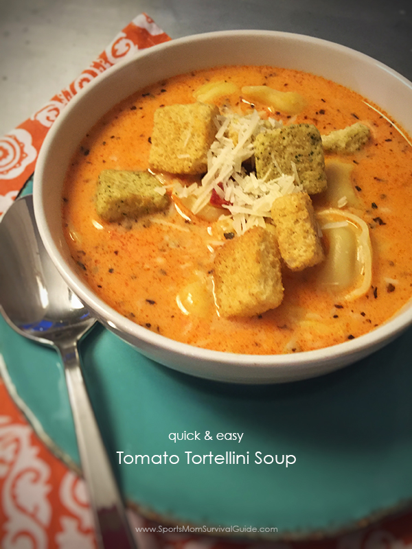 This Tomato Tortellini Soup is amazing because it's super quick & easy to make, but yet the flavor is fabulous!
