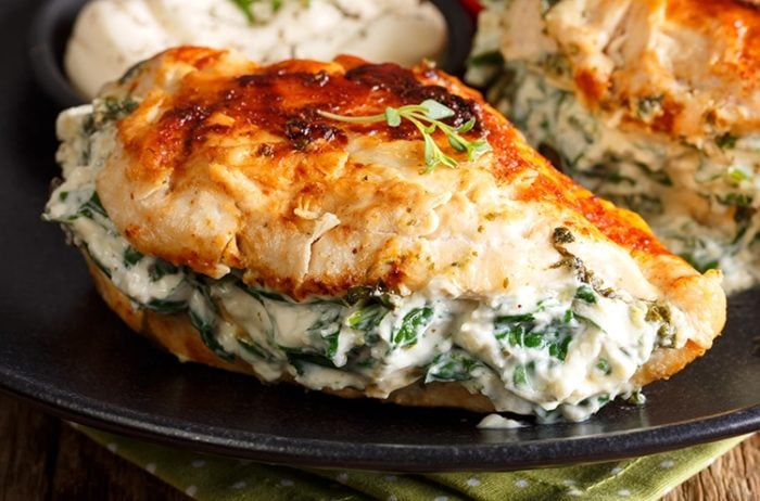 Pan Fried Spinach & Cream Cheese-Stuffed Chicken from The Kitchen Magpie