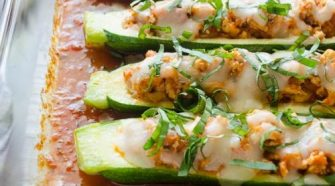Chicken Parmesan-Stuffed Zucchini Boats from Flavor the Moments
