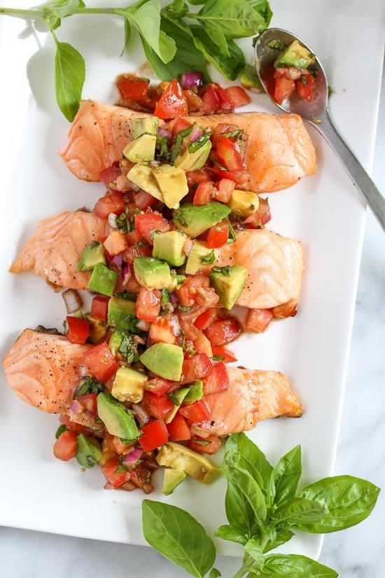 Grilled Salmon with Avocado Bruschetta from Skinnytaste
