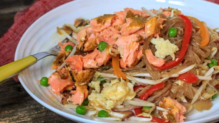 Singapore Noodles With Salmon