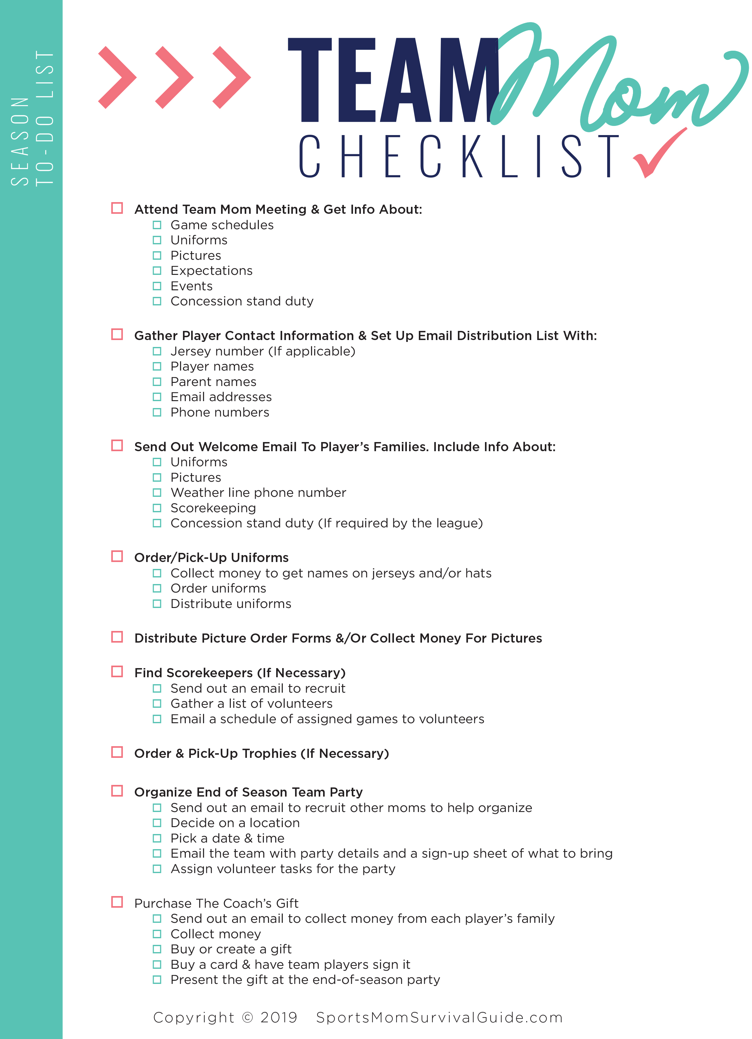 [DOWNLOAD] Sports-Mom To-Do Checklist + Schedule Templates