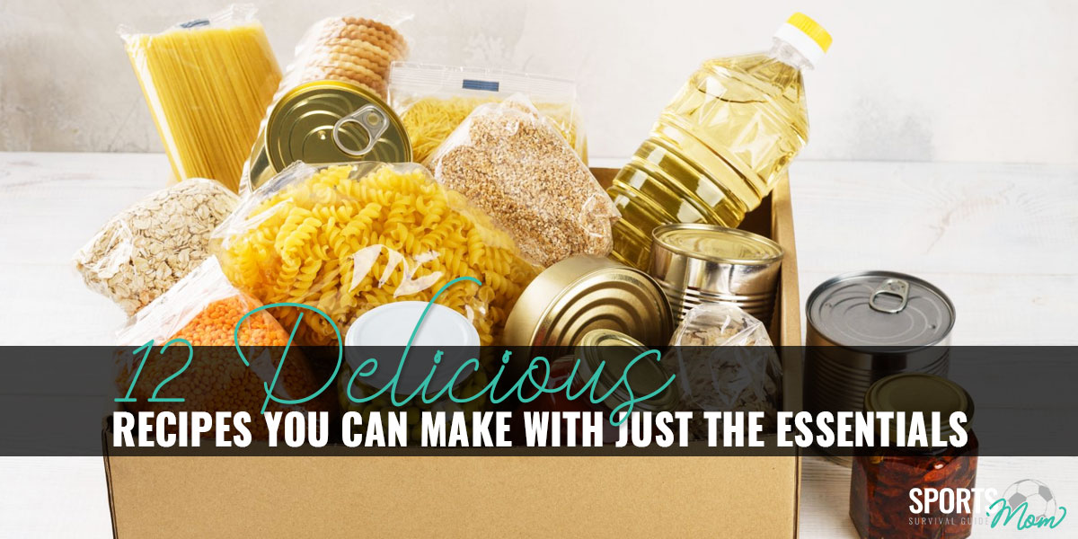 A box with jars of various pasta, grains, rice, and canned food
