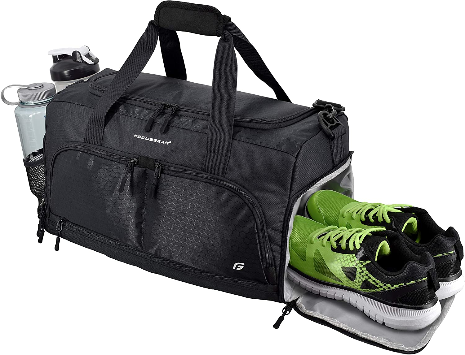 Various compartments in a sports gym bag